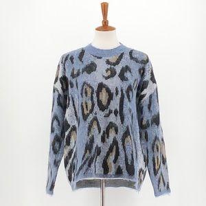 RD Style Blue Black Animal Print Sweater
